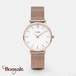 Montre Cluse Minuit Mesh Rose Gold/White CL30013-CW0101203001