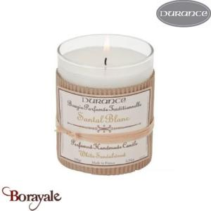 Bougie traditionnelle DURANCE 180g Santal Blanc