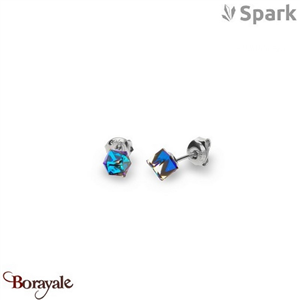 Boucles d'oreilles SPARK with Swarovski : Cube Small 6 Mm - Bleu Bermudes