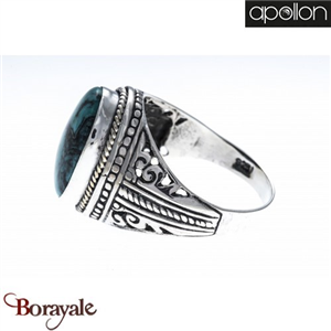 Collection Argent homme Turquoise, Bague APOLLON HH108-62 Taille 62