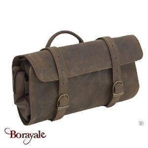 Trousse de toilette KASZER collection Kansas en cuir de buffle marron 21251-C6