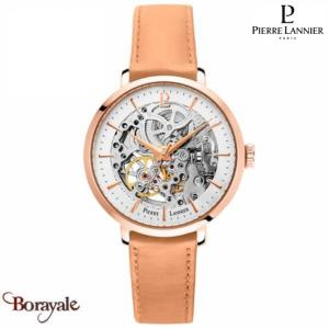 Montre PIERRE LANNIER Collection AUTOMATIQUE doré rose cuir Femme
