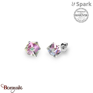 Boucles d'oreilles SPARK with Swarovski : Cubes medium 8 mm - Vitrail Light