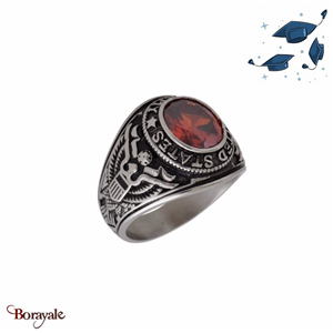 Bague Universitaire américaine United States Army rouge