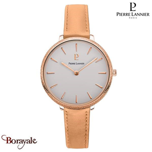 Montre PIERRE LANNIER Collection CAPRICE doré rose cuir Femme