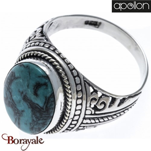 Collection Argent homme Turquoise, Bague APOLLON HH108-60 Taille 60