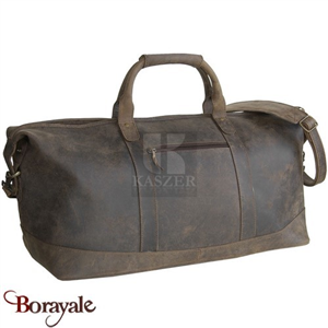 Sac de voyage - sport KASZER collection Kansas en cuir de buffle marron 21201-C6