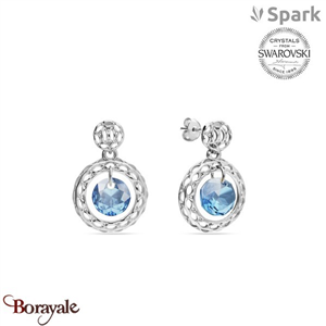 Boucles d'oreilles SPARK with Swarovski : Ajour Circle - Aquamarine