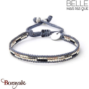 """Bracelet """"Belle mais pas que"""" collection Black Silver B-1191-BS"""