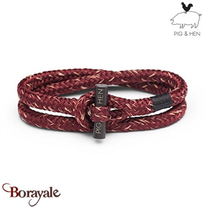 Bracelet PIG & HEN Tiny Ted Bordeaux - Sand  Black L (20cm)