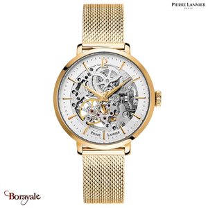 Montre PIERRE LANNIER Collection AUTOMATIQUE doré milanais  Femme