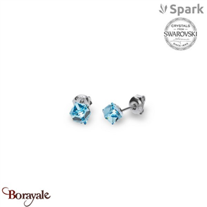 Boucles d'oreilles SPARK with Swarovski : Cube Small 6 Mm - Aquamarine