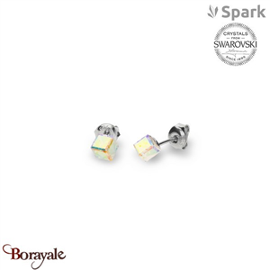 Boucles d'oreilles SPARK with Swarovski : Cube Small 6 Mm - Aurore Boréale