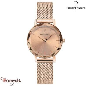 Montre PIERRE LANNIER Collection MULTIPLES doré rose milanais Femme