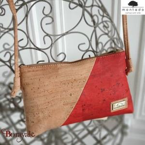 Sac à bandoulière, en liège, collection Basic, MONTADO Naturel-Rouge 58527NATVER