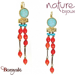 Collection Khampa, Boucles d'oreilles NATURE Bijoux 12--25405