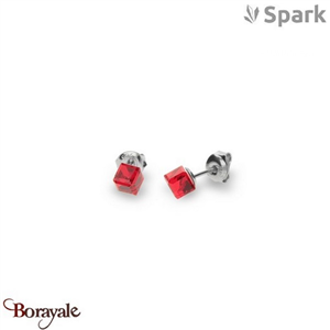 Boucles d'oreilles SPARK with Swarovski : Cube Small 6 Mm - Rouge thaï