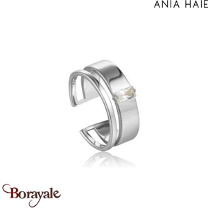 Bague ajustable 2 rangs CZ synth AG 925 rh, Bague  ANIA-HAIE R018-02H