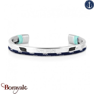 Bracelet Tom Hope Hybrid Cuff, Silver-Blue-Gris: Taille M