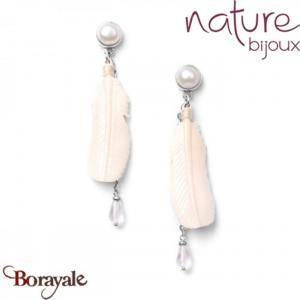Collection White Swan , Boucles d'oreilles Nature Bijoux 12--76321