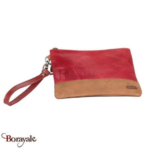 Pochette  KASZER collection Colorado en cuir de vachette naturel et rouge 227513
