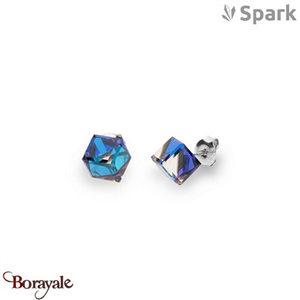 Boucles d'oreilles SPARK with Swarovski : Cubes medium 8 mm - Bleu Bermudes
