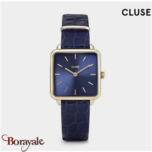 Montre Cluse La Tétragone Leather, Gold, Blue/Blue Alligator CW0101207028