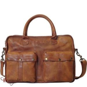 Cartable KASZER collection Concord en cuir de vachette cognac 233004-C4