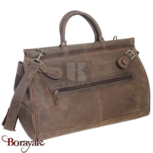Sac de voyage - sport KASZER collection Kansas en cuir de buffle marron 21221