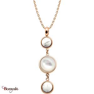 Collier howlite , nacre blanche et howlite, Collection: Cabochon YOLA