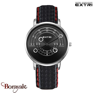 Montre EXTRI City Homme carbone - rouge X3016SBCL01