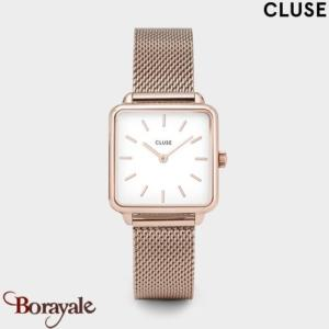 Montre Cluse La Tétragone Rose Gold Mesh/White CL60003-CW0101207001