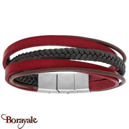 bracelet cuir rouge homme