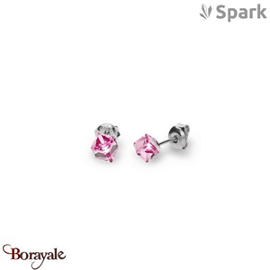Boucles d'oreilles SPARK with Swarovski : Cube Small 6 Mm - Rose clair
