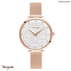 Montre PIERRE LANNIER Collection EOLIA doré rose milanais Femme
