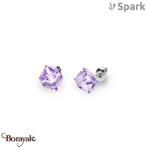 Boucles d'oreilles SPARK with Swarovski : Cubes medium 8 mm - Violet