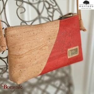Sac à bandoulière, en liège, collection Basic, MONTADO Naturel-Rouge 58526NATVER