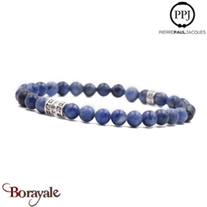 Deep Blue: Bracelet Pierres fines 6 mm PPJ, Taille XL