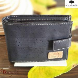 Portefeuille, en liège, collection Black Edition, MONTADO Noir-Naturel 528056-BL