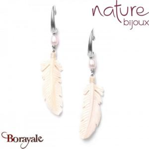 Collection White Swan , Boucles d'oreilles Nature Bijoux 12--76306