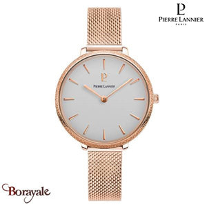 Montre PIERRE LANNIER Collection CAPRICE doré rose milanais Femme