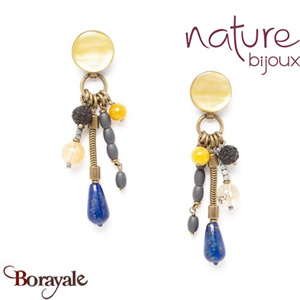 Collection Blue Tribe, Boucles d'oreilles Nature Bijoux 12--74181