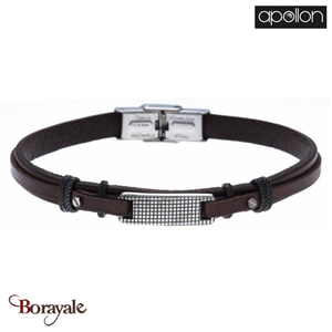 Bracelet cuir italien marron, Collection: cuir et acier APOLLON