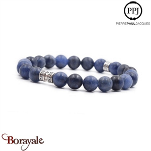 Deep Blue: Bracelet Pierres fines 8 mm PPJ, Taille M
