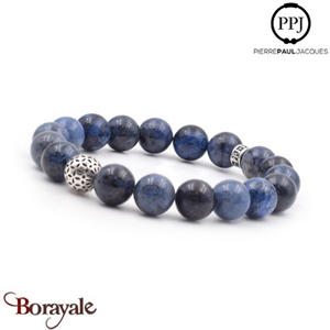 Deep Blue: Bracelet Pierres fines 10 mm PPJ, Taille XL