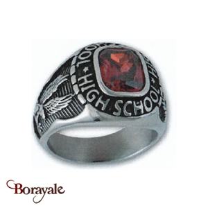 Bague Universitaire américaine High school rouge