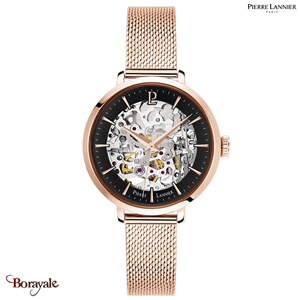 Montre PIERRE LANNIER Collection AUTOMATIQUE doré rose milanais Femme