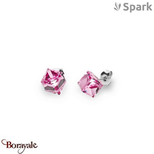 Boucles d'oreilles SPARK with Swarovski : Cubes medium 8 mm - Rose clair