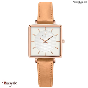 Montre PIERRE LANNIER Collection LECARÉ doré rose cuir  Femme