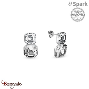 Boucles d'oreilles SPARK with Swarovski : Imperial Duo - Cristal blanc